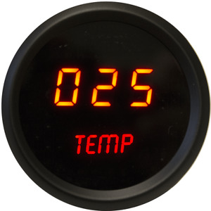 Universal Digital Oil Temperature Gauge Red Leds Black Bezel Made In The Usa