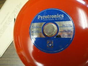 Pyrotronics Model Bdc 6 Red Metal Fire Alarm Bell N o s Never Used