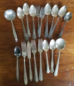 Mixed Lot Of 16 Silver Plate 2 Stainless Antique Vintage Flatware Scrap Lot