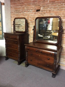 Antique American Mahogany Empire Dresser Chest Of Drawers W Mirrors