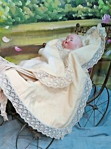 Antique Victorian Baby Blanket Doll Carriage Crib Coverlet Handmade Lace Trim