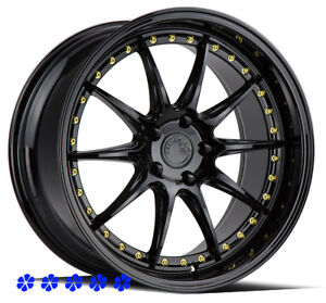 Aodhan Ds07 18 X8 5 9 5 35 Black Deep Dish Lip Fin Staggered Rims Wheels 5x100