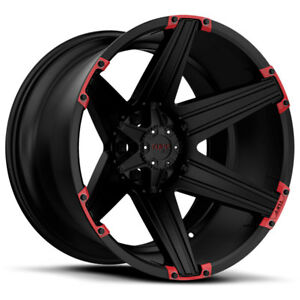 26 Inch 26x12 Tuff T12 Black Red Wheel Rim 6x5 5 6x139 7 45