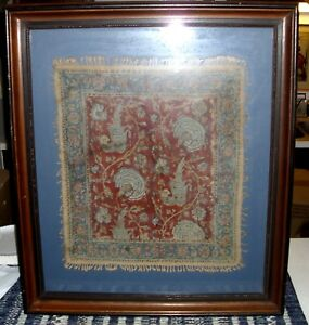 Rare Vintage Middle Eastern Prayer Rug Framed Old Age Unknown Take A Look