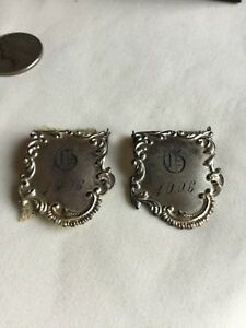Vintage Foster Bailey Garment Clips F B Sterling 1906 Monogrammed