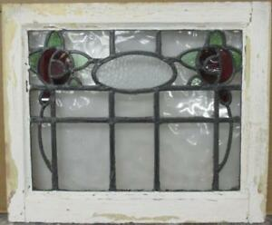 Old English Leaded Stained Glass Window Gorgeous Double Floral 20 5 X 17