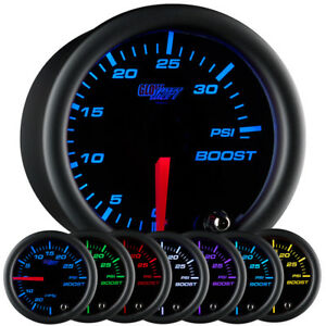 52mm Glowshift Black Face Turbo Mechanical Boost 35 Psi Gauge W 7 Color Leds