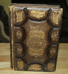 Antique Bible 1869 Night Scenes In The Bible Tooled Leather Covers Illustrated