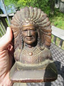 Antique 1920 S Cast Iron Arts And Crafts Art Deco Indian Head Book Ends 44