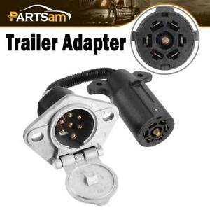 7 Way Blade To 7 Pole Round Trailer Plug Adapter Connector Cable Car Auto Black