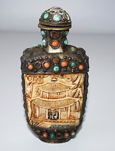20c Chinese Mongolian Style Snuffbottle W Bone Metal Coral Turquoise Wil