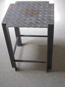 Vintage Industrial Welded Metal Stool Pittsburgh Steel Plate Salvaged Recycled