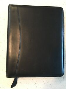 Black Leather Franklin Quest Zippered Planner Pre Owned