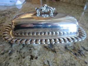 Vintage Eton Silver Plate Scalloped Butter Dish With Original Glass Liner