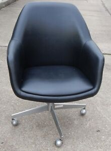 Vintage Steelcase 450 Barrel Rolling Swivel Chair Black