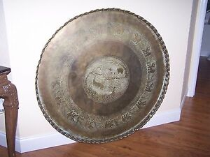 Antique Giant 45 Copper Brass Persian Turkish Tray Table Top Wall Art Bohemian