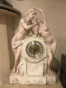 Antique Victorian Naked Man And Woman Clock Statue Figurine