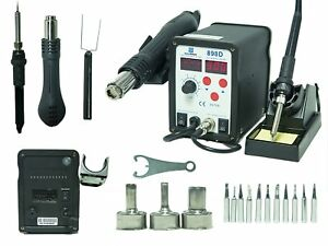 2 in 1 Smd Hot Air Rework Station Soldering Iron W 11 Tips 3 Nozzles Led New