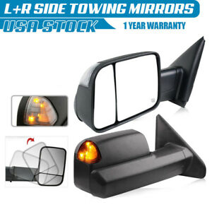 For 2002 2008 Dodge Ram 1500 2500 3500 Power Heated Turn Signal Pair Tow Mirrors