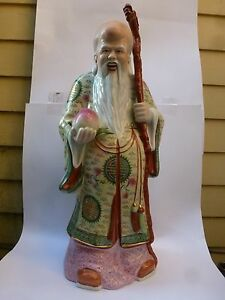 Chinese Porcelain Large Statue Shouxing Shoulao Figurine 24 Inches Buddha