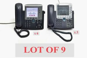 Lot Of 9 Cisco Business Office Ip Voip Color Display Telephone 6 7945g 3 7970g