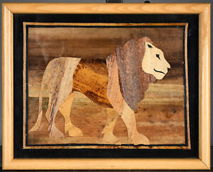 Framed Vintage Wood Marquetry Plaque Lion Motif Inlaid Specimen Woods