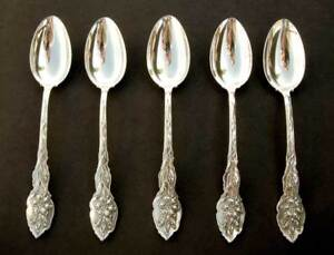 Unger Bros Circa 1890 Five Sterling Silver Teaspoons 7 8 Long Narcissus Pattern