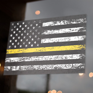 Thin Yellow Line American Flag Decal 5x3 Distress Sticker Security Truck Driver