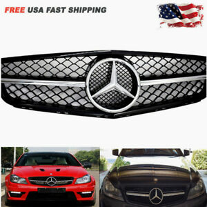 Amg Style Chrome Black Grille For Mercedes Benz C class W204 C300 C350 08 14