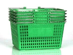 Shopping Basket set Of 5 Durable Green Plastic With Metal Handles