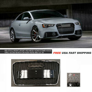 Rs5 Style Front Chrome Frame Black Hex Mesh Grille For 13 16 Audi A5 S5 B8 5