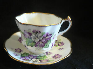Salisbury Devonshire Violets On White Background Tea Cup And Saucer