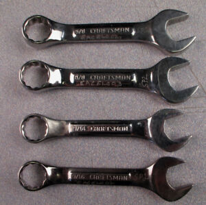 Craftsman 4 Pc Stubby 44107 5 8 44106 9 16 12 point Combination Wrenches