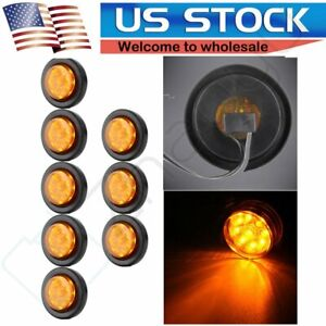 8 2 Truck Trailer Clearance Light Amber Side Marker Round 9 Led With Grommet