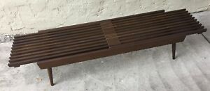 Vtg Expanding Slat Bench Japan Mid Century Modern Coffee Table Wood Danish Eames