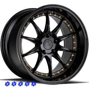 Aodhan Ds07 18 X9 5 10 5 22 Black Staggered Rims Wheels 5x114 3 Fit Nissan 350z