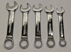 Stubby Wrench Set Husky 5 Pc Combination Polished Chrome Metric 10 15 Mm
