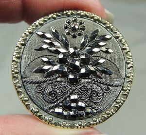 Lacy Black Glass In Brass Button Metal