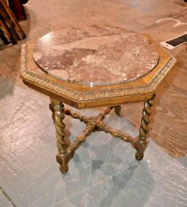 Antique 1920 S Marble Top Barley Twist Octagon Table Vintage Furniture