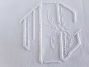 Xl Antique French Pure Linen Sheet Hand Embroidered Monogrammed Huge Monogram Mg