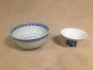 Blue And White Chinese Bowl And Japanese Sake Cup