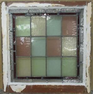 Victorian English Lead Stained Glass Window Bordered Colorblock 21 25 X 22 25