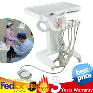 Portable Dental Mobile Cart Delivery Unit Weak Suction 4h Handpiece 3 way Syring