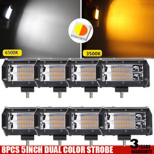 8x 5inch 240w Amber White Strobe Flash Led Work Light Flood Offroad For Ford Suv