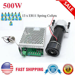 500w Cnc Spindle Motor Clamp Air Cooling Speed Governor 13 Pcs Er11 Collets Usa