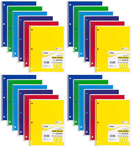 Mead Spiral Notebook Wide Ruled 1 Subject 70 Sheets 8 X 10 5 Inches Colors