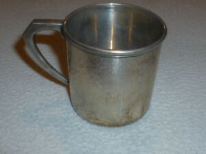 925 Sterling Silver Hand Hammered Baby Cup Child Mug Antique