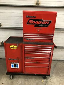 Vintage Snap on Tools 4 Piece Roll Away Tool Box Pre owned