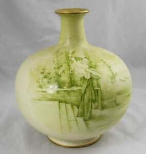 Antique Balbous Royal Bonn Vase Hand Painted Germany 11 X 9 5
