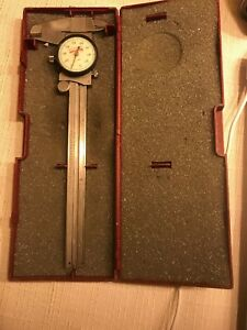 Starrett 120a Stainless Steel Caliper W Case White Face Made In Usa t9